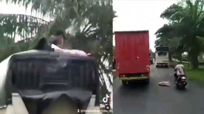 Viral Video Aksi 2 Bajing Loncat di Palembang, Satu Beraksi di Atas Truk, Satu Mengawal di Belakang