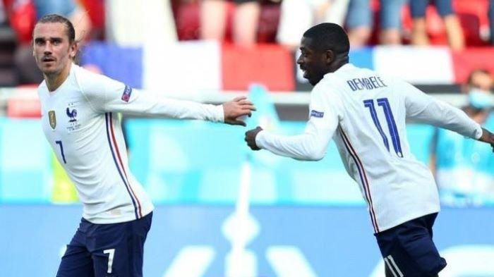 Antoine Griezmann saat mencetak gol untuk Prancis saat menghadapi Hungaria pada Euro 2020