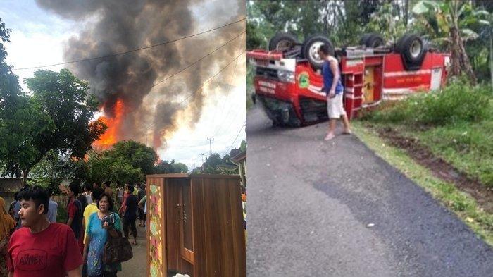 Kebakaran di Desa Rantau Kasai, Empat Lawang. Tampak, satu unit mobil pemadam kebakaran terbalik ketika di perjalanan hendak menuju lokasi kebakaran.