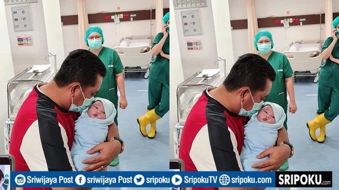 Momen Haru Bupati Banyuasin Askolani Azankan Putranya Usai Sang Istri Lahiran di RS Siloam Palembang