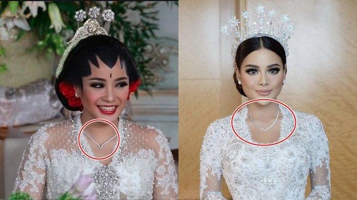 Aurel Hermansyah dan Nagita Slavina mengenakan kalung yang serupa saat akad nikah.
