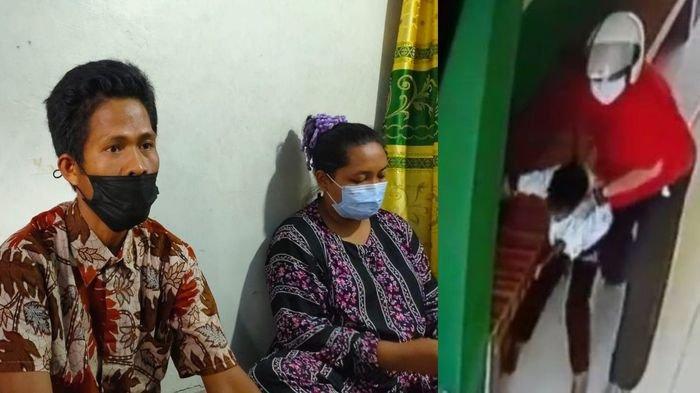Ayah anak yang dianiaya oknum dosen swasta di Palembang, M Sidik (kiri) saat ditemui di rumahnya, Sabtu (15/4/2021). Kanan: Aksi penganiayaan dosen terhadap anak di bawah umur.