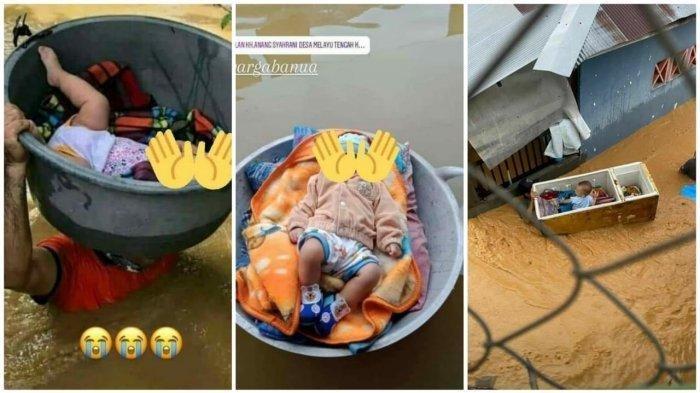 TAK ADA Perahu Karet, Orang Tua Selamatkan Bayi dari Banjir dengan Baskom, Wajan, Kulkas Bekas