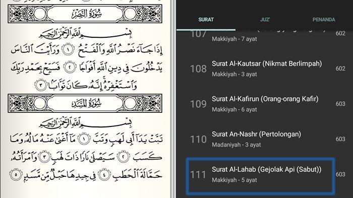 Surat Al-Lahab Ayat 1-5 Beserta Arti Lengkap Tulisan Arab, Latin dan Keutamaan Tentang Gejolak Api