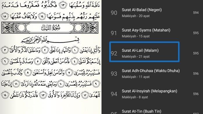 Surat Al-Lail Ayat 1-21 dan Artinya Lengkap Tulisan Arab, Latin dan Keutamaannya Dimudahkan Urusan