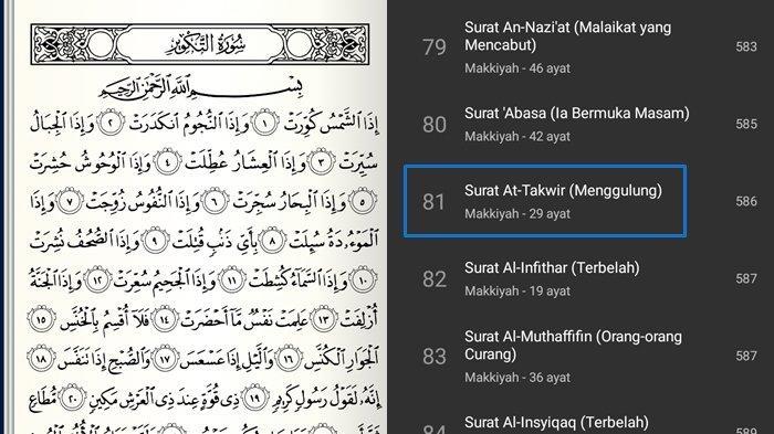 Juz Amma Surat At-Takwir Lengkap 29 Ayat & Arti Serta Tulisan Arab, Latin & Keutamaan Tentang Kiamat