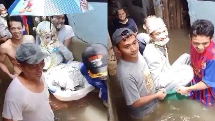 Pasangan pengantin ini viral karena menikah saat banjir, mereka dibantu warga menerjang banjir dengan menggunakan bak mandi bayi.