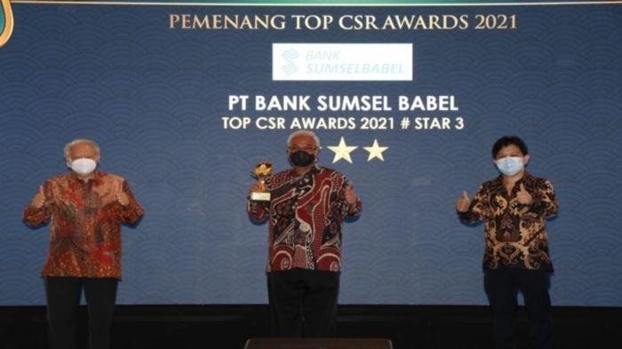 Bank Sumsel Babel berhasil raih penghargaan Top CSR Awards 2021 dengan predikat STAR 3 yang diselenggarakan oleh Majalah Top Business pada hari Kamis tanggal 22 April 2021 di Hotel Rafless Jakarta.