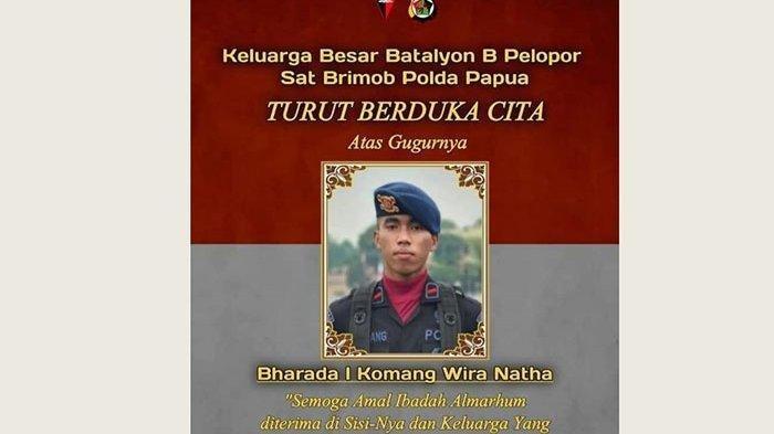 Gugur Saat Kontak Senjata dengan KKB, Bharatu I Komang Wira Natha Diterbangkan Besok ke Palembang