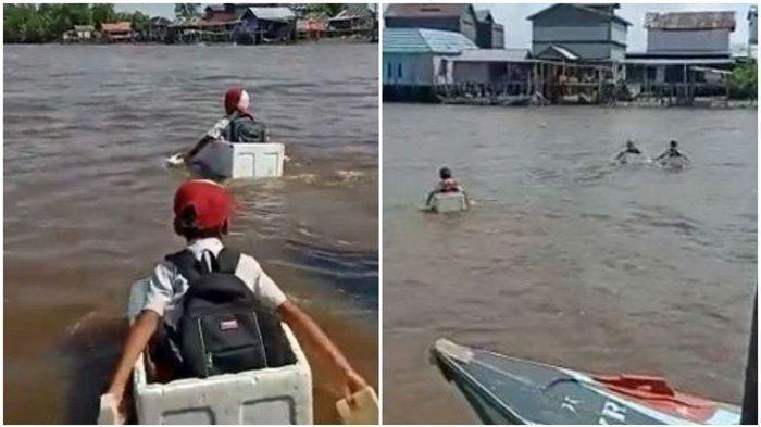 10 TAHUN Tanpa Jembatan, Bocah SD Terpaksa Seberangi Sungai ke Sekolah dengan Styrofoam Bekas