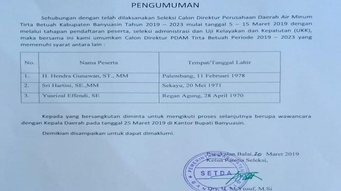 Muncul Tiga Nama Calon Dirut PDAM Trita Betuah Kabupaten Banyuasin Sumatera Selatan