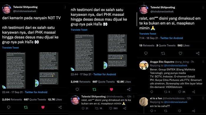 Cuitan akun @tvindonesiawkwk soal pengakuan mantan karyawan NET TV