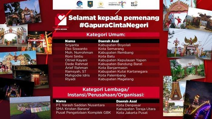 Palembang Masuk 10 Besar Pemenang Festival Gapura Cinta Negeri, Ini Para Pemenang & Gambar Gapuranya