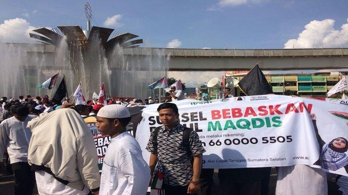 Ratusan Massa di Palembang Gelar Aksi Bebaskan Baitul Maqdis