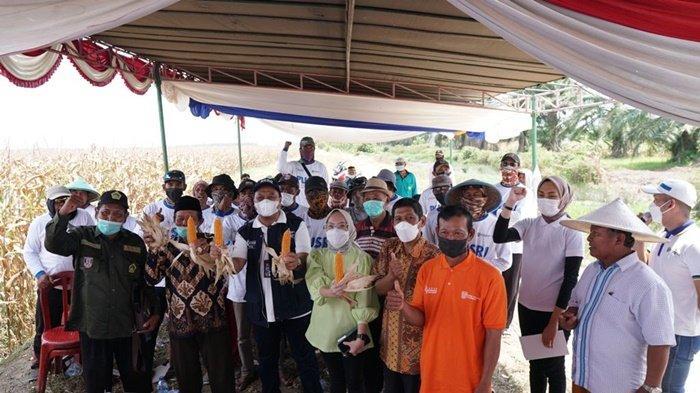 Direktur Utama CV Cempaka Putih Shella Callestya Anwar ST berdampingan dengan Direktur Pusri Palembang Tri Wahyudi Saleh tengah, berfoto bersama kelompok tani jagung Banyuasin, Kamis (9/9/2021) kemarin.