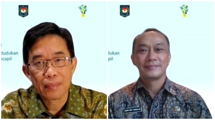 Direktur Utama PLN, Zulkifli Zaini (kiri) dan Direktur Jenderal Kependudukan dan Catatan Sipil, Zudan Arif Fakrulloh (kanan)