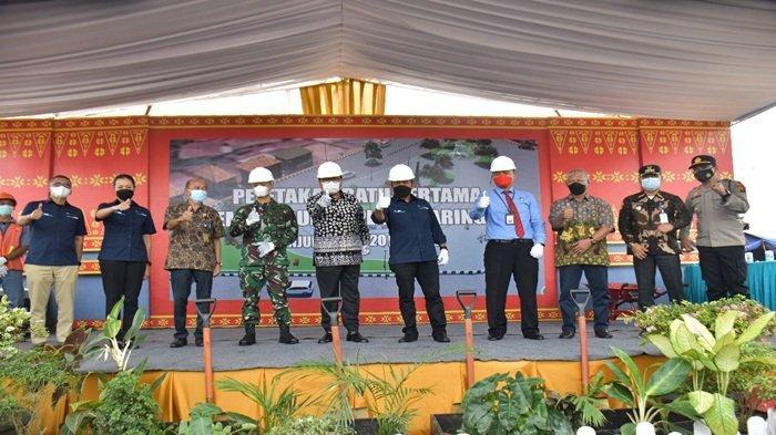 Pembangunan Plaza Saringan Dimulai, Dirut PT BA dan Pj Bupati Muara Enim Letakan Batu Pertama