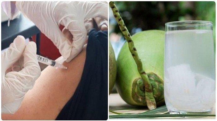 PENJUAL DOGAN Tersenyum, Usai Vaksin, ASN  Minum Air Kelapa Muda: Benarkah Menetralisir Racun?