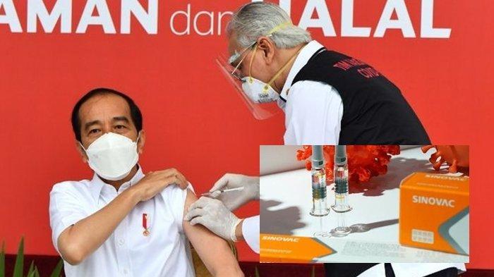 Dokter Abdul Muthalib saat memberi suntik vaksin kepada Presiden Jokowi.