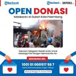 Sripo Tribun Sumsel Open Donasi Kebakaran di Pasar Gubah Kota Palembang