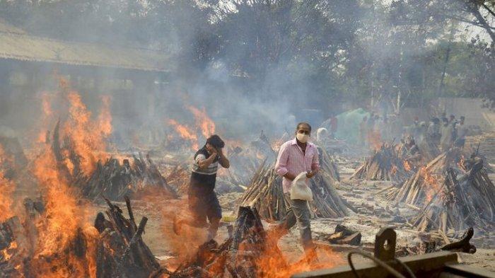 India Lampaui AS Angka Kematian Covid-19, Sehari 4.529 Orang Meninggal, Rumah Sakit Disesaki Pasien