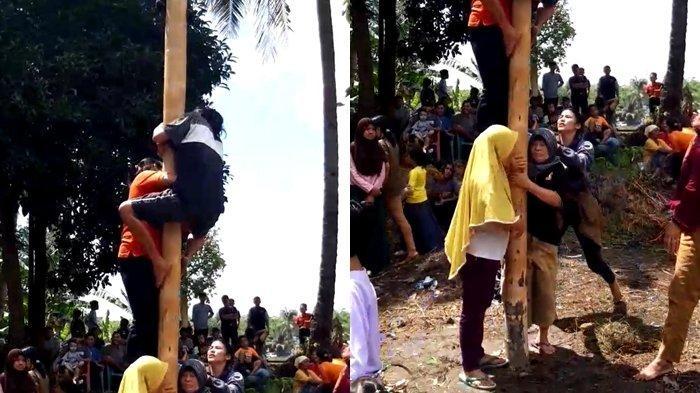 Aksi Kocak Emak Emak di Lahat Panjat Pinang, Demi Meriahkan Perayaan HUT RI ke-75
