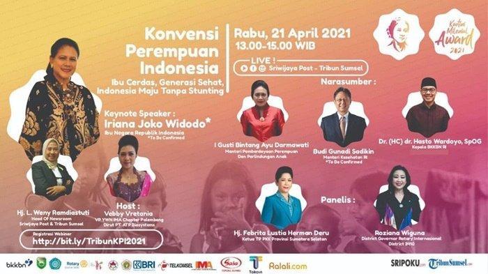 Webinar Konvensi Perempuan Indonesia Bersama Sripo-Tribun, Keynote Speaker Ibu Negara Iriana Jokowi
