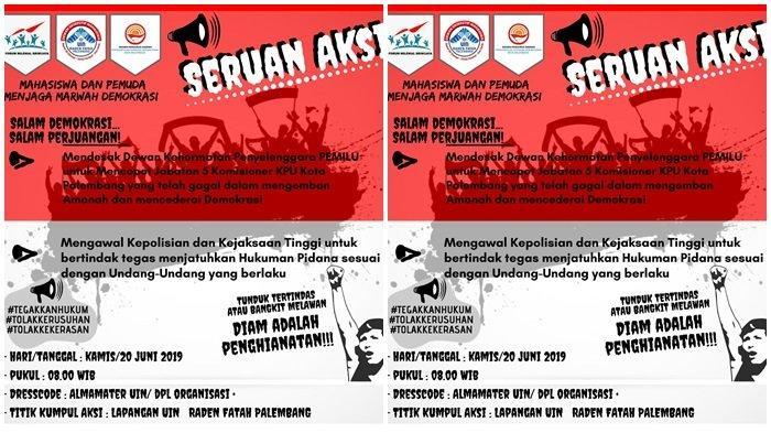Ratusan Mahasiswa Desak Penyelenggara Pemilu Copot 5 Tersangka Komisioner KPU Kota Palembang
