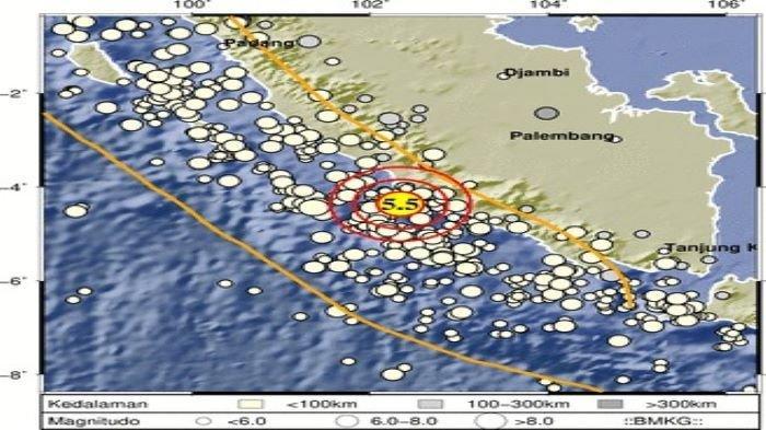 BREAKING NEWS - Gempa Bumi M 5,5 Guncang Kabupaten Seluma Bengkulu