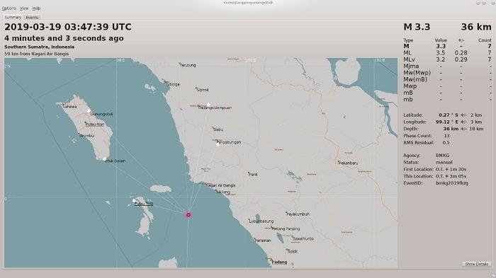 Gempa Kembali Guncang Bumi Padang Sumatera Barat, Tepatnya di Wilayah Air Bangis Pasaman Barat