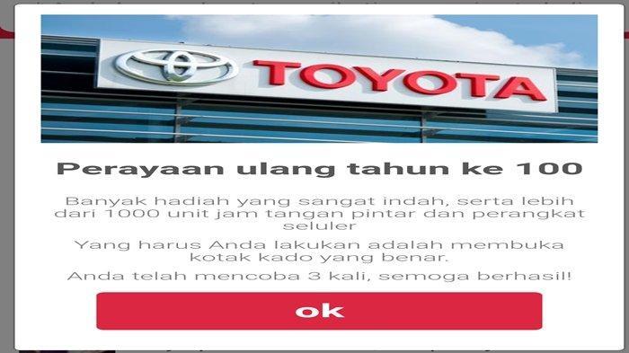Beredar di WhatsApp Tautan Beratasnamakan HUT ke 100 Toyota Bagi-bagi Jam Tangan Pintar & Smartphone