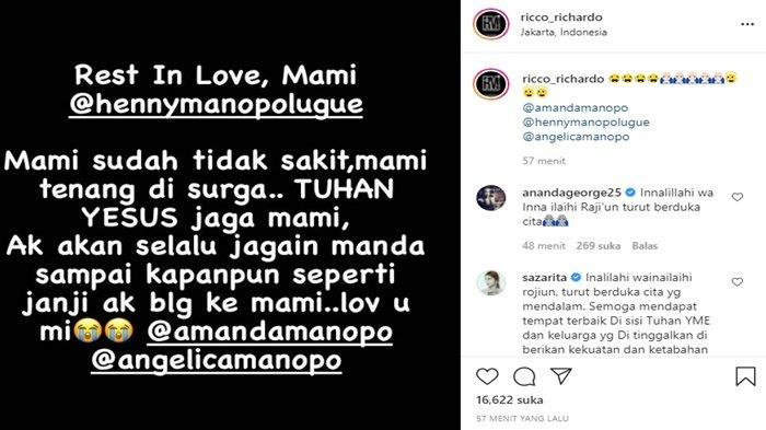 Ibunda Amanda Manopo meninggal (Instagram/ricco_richardo)