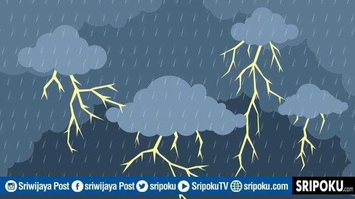 Prakiraan Cuaca di Sumsel Kamis 21-1- 2021, WASPADA! Hujan Lebat Disertai Petir di Beberapa Wilayah