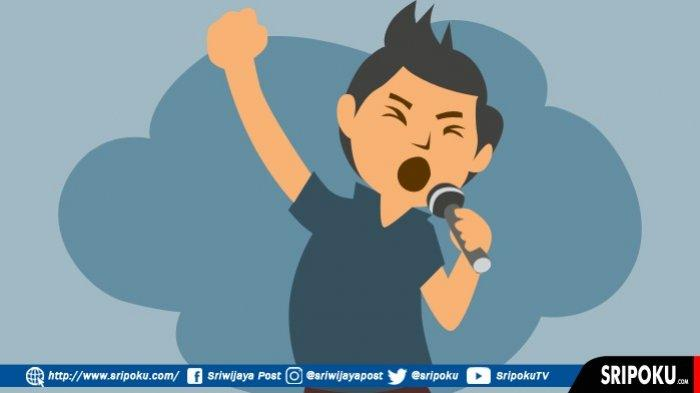 Ilustrasi menyanyi.