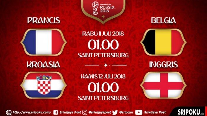 Ini Sederet Bukti Kelayakan Prancis, Belgia, Inggris dan Kroasia Lolos ke Semifinal Piala Dunia 2018