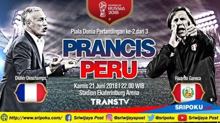 Piala Dunia 2018, Jadwal Siaran Langsung dan Prediksi Pertandingan Perancis vs Peru