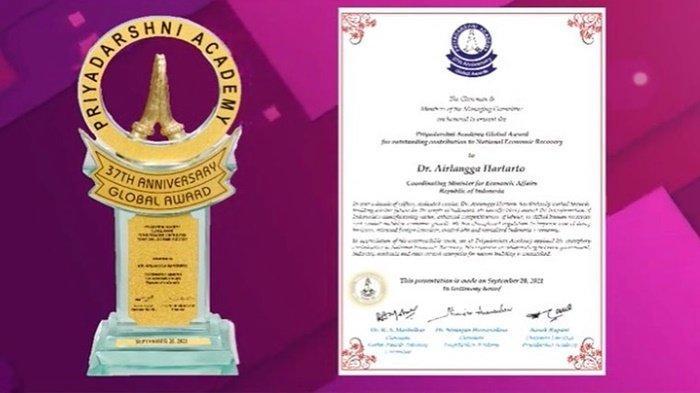 Dianugerahi Penghargaan dari Priyadarshni Academy, Dr Airlangga: Penghargaan untuk Rakyat Indonesia