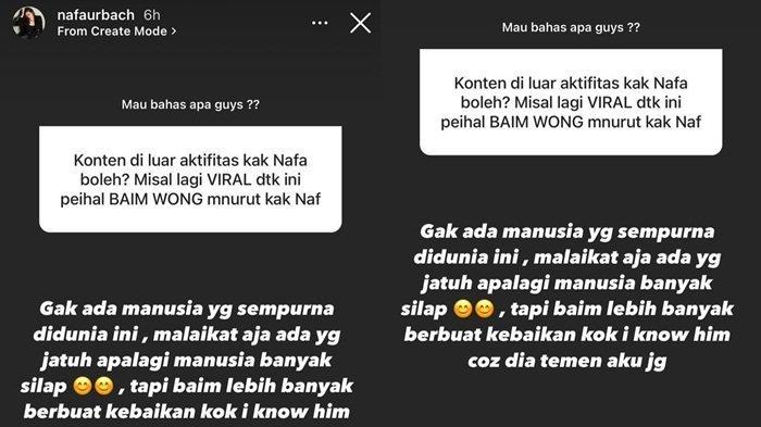 Instagram Story Nafa Urbach bela Baim Wong, Kamis (14/10/2021)