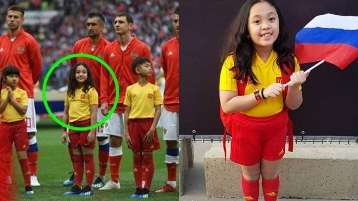 Intip Keseruan Raina, Bocah Asal Indonesia, yang Jadi Pendamping Timnas Rusia di Piala Dunia 2018