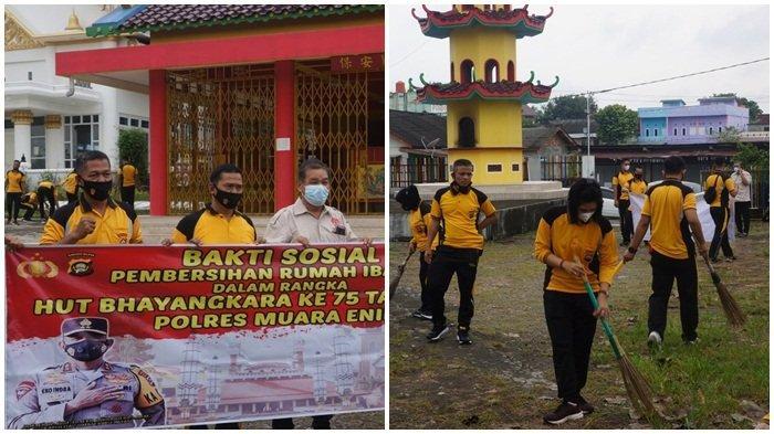 Jajaran Polres Muara Enim menyambut HUT Bhayangkara Polro ke-75 melaksanakan bhakti sosial dengan melakukan kebersihan di Gereja, Huria Kristen Batak Protestan (HKBP) Muara Enim, Jumat (11/6/2021)