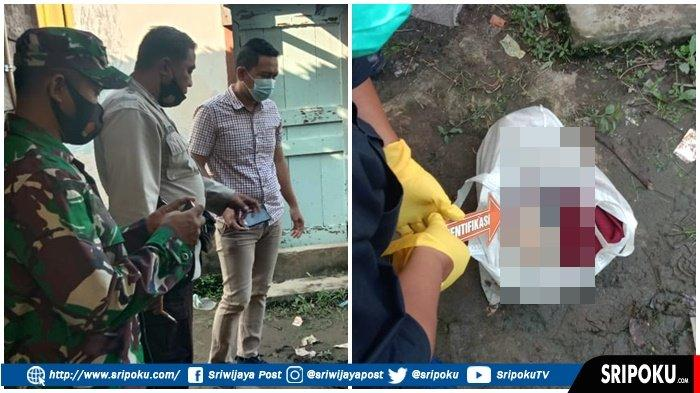 Sesosok jasad bayi laki-laki terbungkus plastik di bawah rumah panggung yang berada di Lorong Bersama No 092 RT. 43 RW. 16 Kelurahan Plaju Ulu Kecamatan Plaju Palembang, Jumat (9/4/2021).