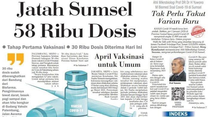 Sumsel Amankan 58 Ribu Dosis, Hari Ini Tiba 30 Ribu Vaksin Sinovac