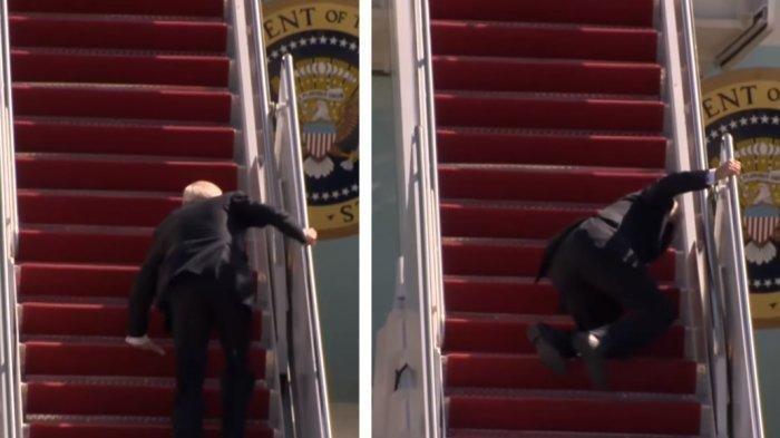 NGOS-Ngosan Naiki Tangga Air Force One, Joe Biden Berkali-kali Tersandung: Tak Ada yang Menolong