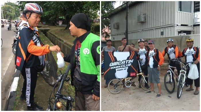 Jumat Peduli Virus Corona di Sumsel, Qiblatin Gowes Club Membagikan Nasi Bungkus Gratis