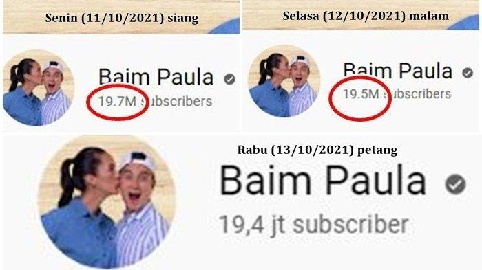 Jumlah subscriber kanal YouTube Baim Paula berkurang 300 ribu sejak Senin (11/10/2021)