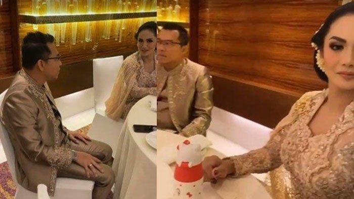 Pada momen langka itu, Anang Hermansyah dan Krisdayanti sempat terlihat asyik berbincang. Namun, obrolan mereka terhenti ketika dipergoki istrinya
