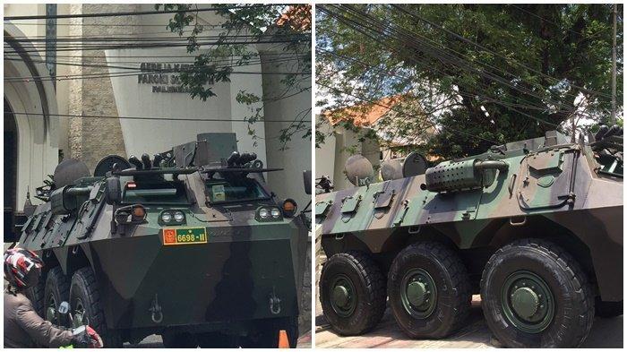 Kendaraan Tempur Panser Anoa Milik TNI Terparkir di Depan Gereja Katolik Paroki St Yoseph Palembang