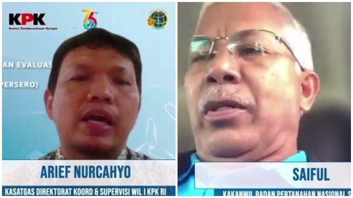 Kepala Satgas Direktorat Koordinasi & Supervisi Wilayah I KPK Arief Nurcahyo dan Kepala BPN Kanwil Provinsi Sumatera Barat, Saiful ketika rapat virtual bersama PT PLN (Persero) terkait pengamanan aset tanah secara nasional