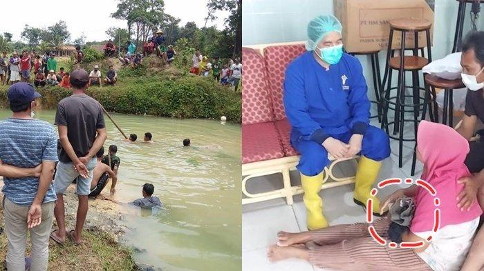 Istri Pedagang Ayam Potong Ini Terus Pegang Baju Anak yang Tenggelam di Galian Bata, Ya Allah Anakku