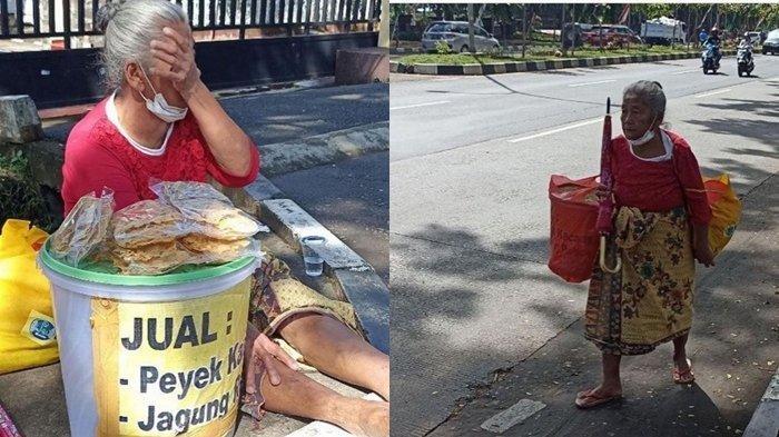 Nenek Suning yang viral karena hidup susah berjualan peyek hanya dapat Rp 25 Ribu